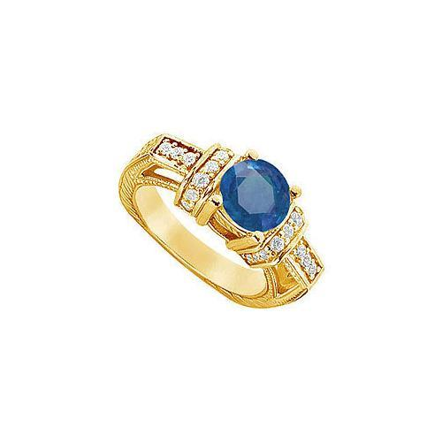 Sapphire and Diamond Engagement Ring : 14K Yellow Gold - 2.50 CT TGW