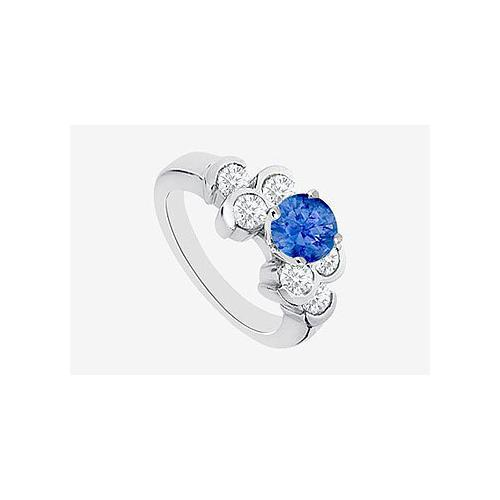 Engagement Rings Diamond and Natural Sapphire in 14K White Gold with 1.20 Carat TGW
