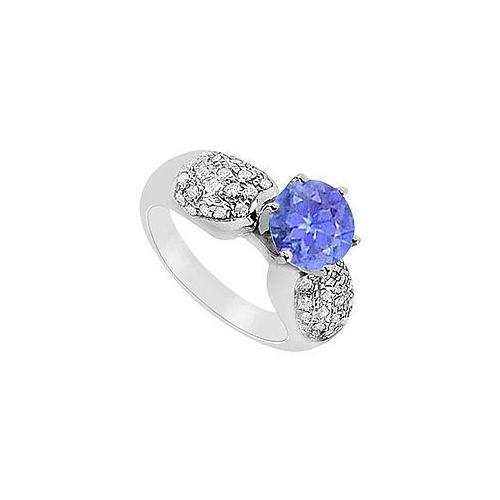 Tanzanite and Diamond Engagement Ring : 14K White Gold - 1.50 CT TGW