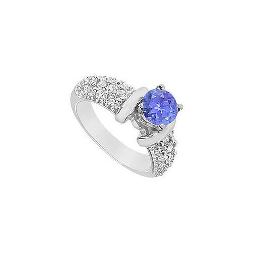 Tanzanite and Diamond Engagement Ring : 14K White Gold - 2.00 CT TGW