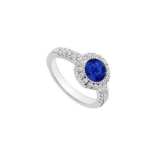 Sapphire and Diamond Halo Engagement Ring : 14K White Gold - 1.25 CT TGW