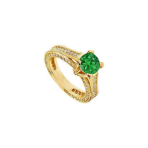 Emerald and Diamond Engagement Ring : 14K Yellow Gold - 2.50 CT TGW