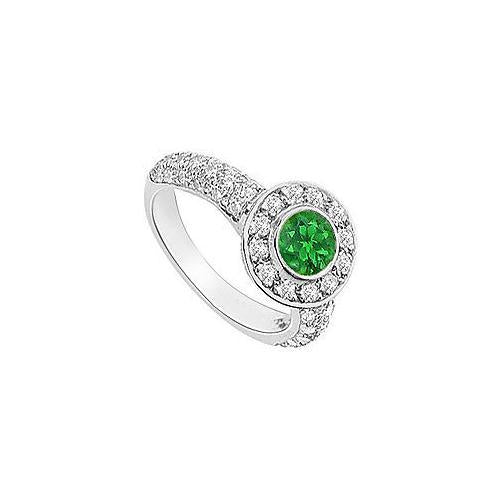 Emerald and Diamond Halo Engagement Ring : 14K White Gold - 2.25 CT TGW
