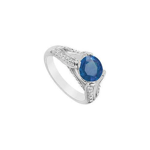 Sapphire and Diamond Engagement Ring : 14K White Gold - 2.50 CT TGW