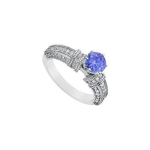 Tanzanite and Diamond Engagement Ring : 14K White Gold - 1.00 CT TGW