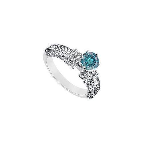 Fancy Blue Diamond Ring : 14K White Gold - 1.50 CT Diamonds