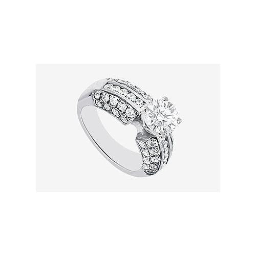 Cubic Zirconia Engagement Ring in 14K White Gold 2.30 Carat TGW