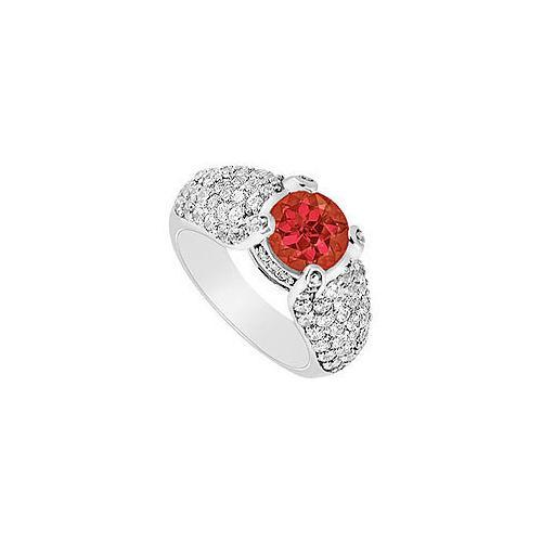 Ruby and Diamond Engagement Ring : 14K White Gold - 2.00 CT TGW