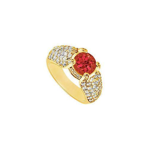 Ruby and Diamond Engagement Ring : 14K Yellow Gold - 2.00 CT TGW