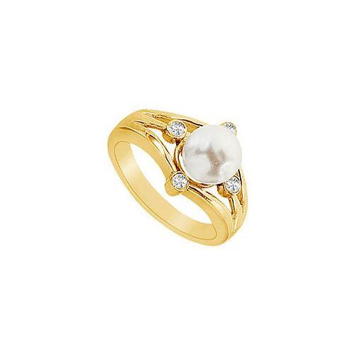 Cultured White Akoya Pearl and Diamond Ring : 14K Yellow Gold - 0.15 CT Diamonds