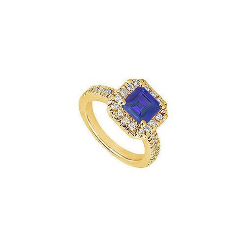 Sapphire and Diamond Engagement Ring : 14K Yellow Gold - 1.00 CT TGW