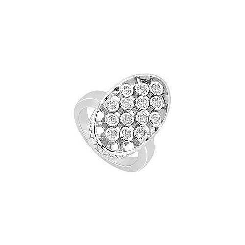 Diamond Oval Ring : 14K White Gold - 0.50 CT Diamonds