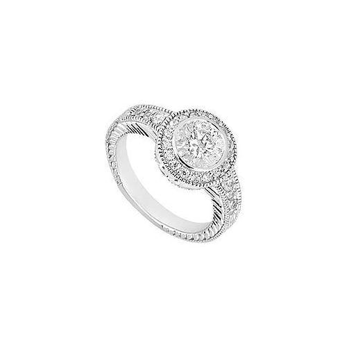 Diamond Engagement Ring : 18K White Gold - 0.75 CT Diamonds