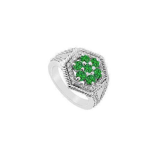 Emerald and Diamond Flower Ring : 14K White Gold - 1.50 CT TGW