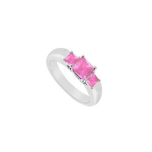 Three Stone Pink Sapphire Ring : 14K White Gold - 0.33 CT TGW