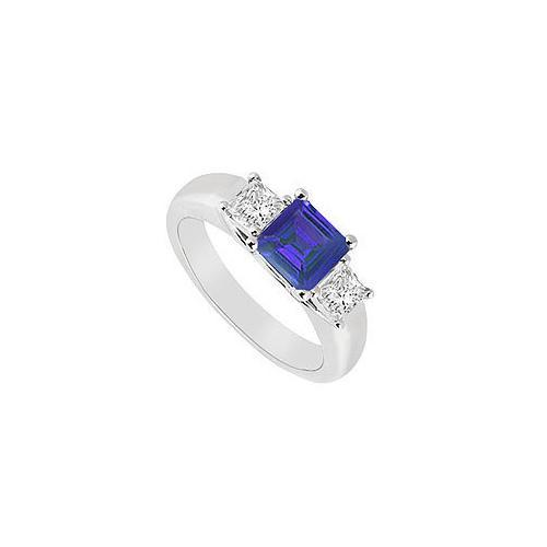Three Stone Sapphire and Diamond Ring : 14K White Gold - 0.50 CT TGW