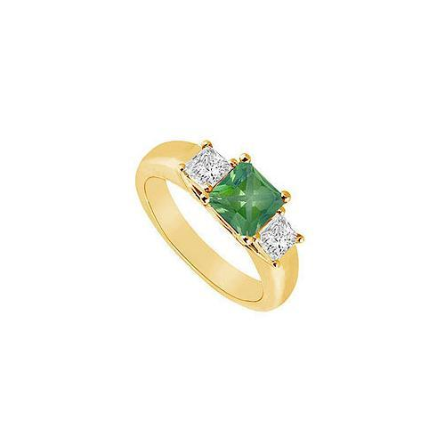 Three Stone Emerald and Diamond Ring : 14K Yellow Gold - 0.50 CT TGW