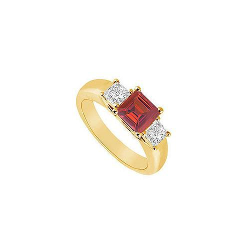 Three Stone Ruby and Diamond Ring : 14K Yellow Gold - 0.50 CT TGW