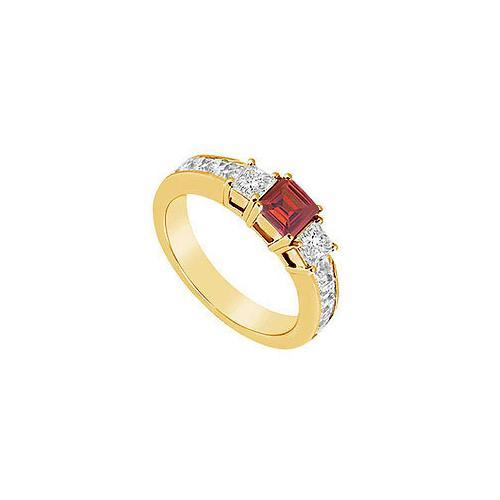 Ruby and Diamond Ring : 14K Yellow Gold - 1.25 CT TGW