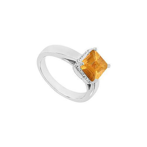 Citrine and Diamond Ring : 14K White Gold - 1.00 CT TGW