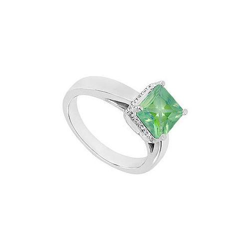 Emerald and Diamond Ring : 14K White Gold - 1.00 CT TGW