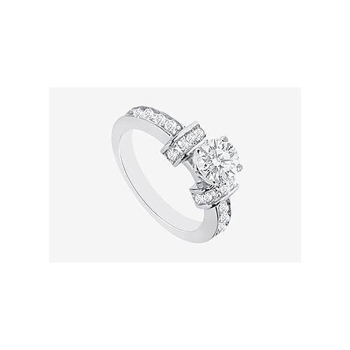 Engagement Ring with Brilliant Cut Round Diamond in 14K White Gold 1.60 carat TDW  Diamonds