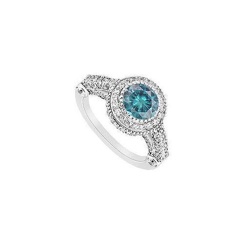 Blue Diamond Engagement Ring : 14K White Gold - 1.25 CT Diamonds