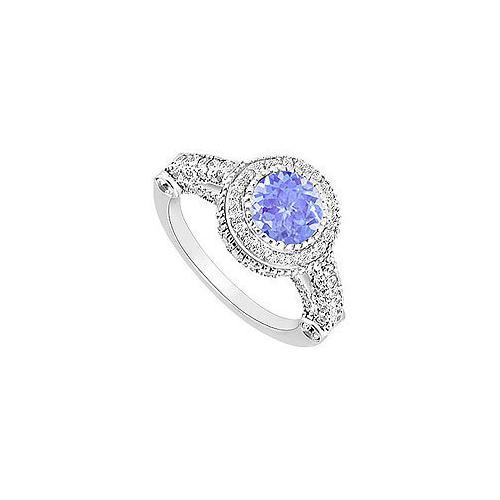 Tanzanite and Diamond Halo Engagement Ring : 14K White Gold - 2.00 CT TGW