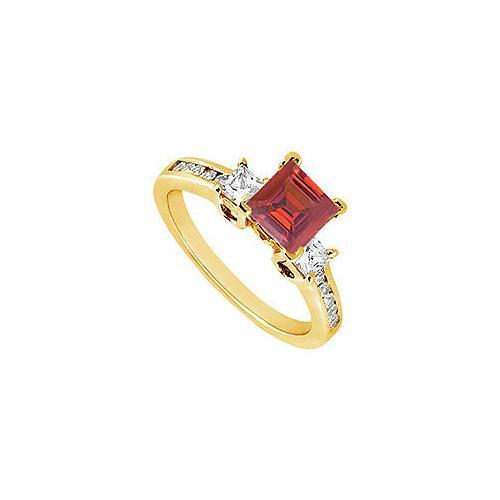 Ruby and Diamond Engagement Ring : 14K Yellow Gold - 1.00 CT TGW