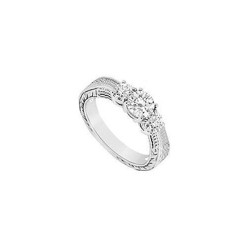 Three Stone Diamond Ring : 14K White Gold - 0.33 CT Diamonds