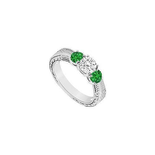 Three Stone Emerald and Diamond Ring : 14K White Gold - 0.33 CT TGW