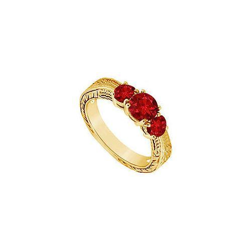 Ruby Three Stone Ring : 14K Yellow Gold - 0.50 CT TGW