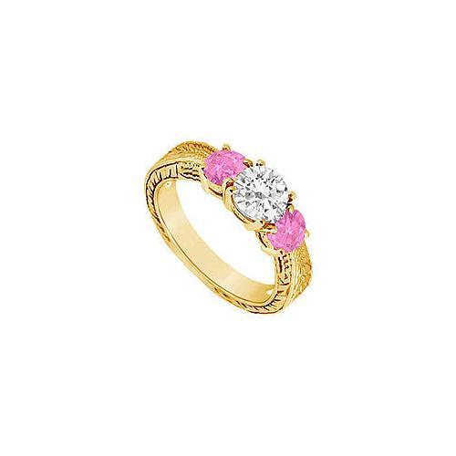 Three Stone Pink Sapphire and Diamond Ring : 14K Yellow Gold - 0.75 CT TGW