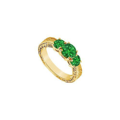 Emerald Three Stone Ring : 14K Yellow Gold - 0.75 CT TGW