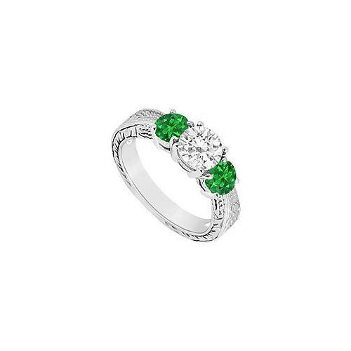 Three Stone Emerald and Diamond Ring : 14K White Gold - 1.00 CT TGW