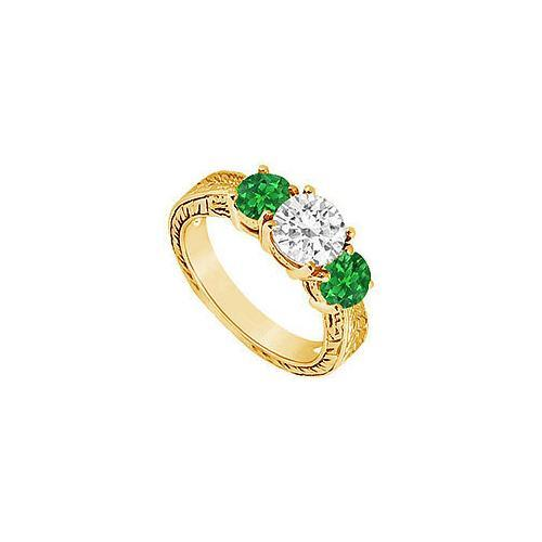 Three Stone Emerald and Diamond Ring : 14K Yellow Gold - 1.25 CT TGW