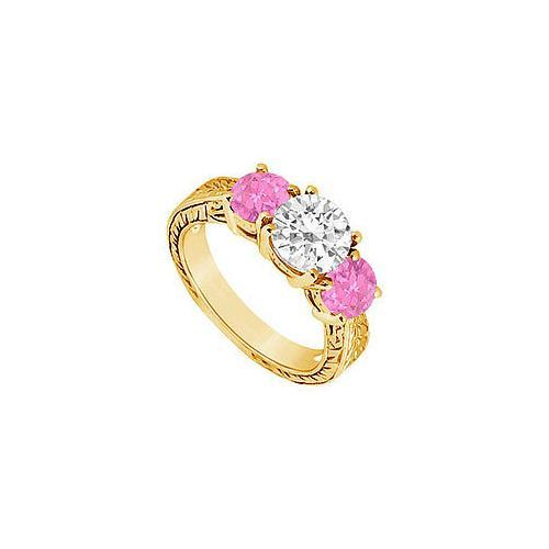 Three Stone Pink Sapphire and Diamond Ring : 14K Yellow Gold - 1.50 CT TGW