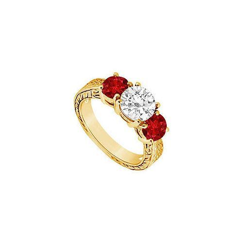 Three Stone Ruby and Diamond Ring : 14K Yellow Gold - 1.50 CT TGW