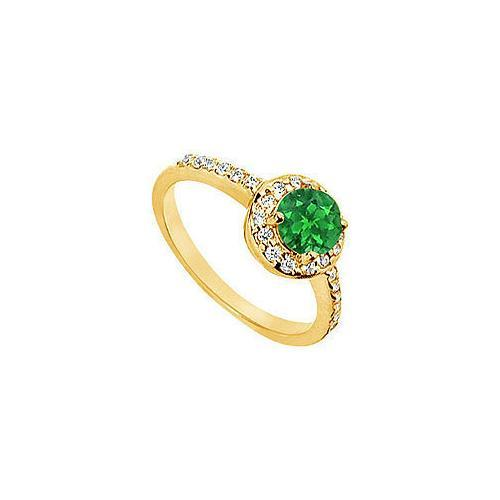 Emerald and Diamond Engagement Ring : 14K Yellow Gold - 1.50 CT TGW
