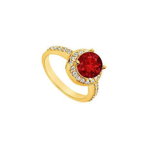 Ruby and Diamond Engagement Ring : 14K Yellow Gold - 2.50 CT TGW