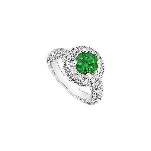 Emerald and Diamond Halo Engagement Ring : 14K White Gold - 1.75 CT TGW