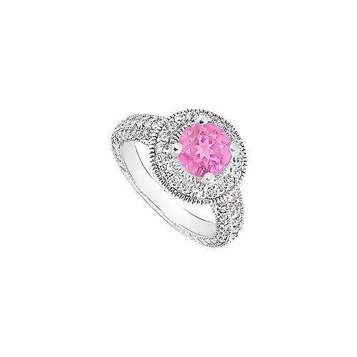 Pink Sapphire and Diamond Halo Engagement Ring : 14K White Gold - 2.15 CT TGW