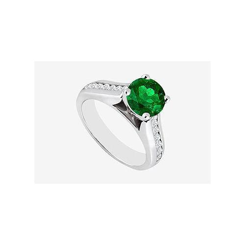 Engagement Ring Natural Emerald and Diamond 1.10 carats TGW in 14K White Gold