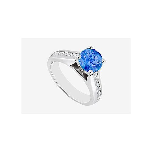 Natural Sapphire with Channel set side Diamond Engagement Ring in 14K White Gold 1.10 Carat TGW