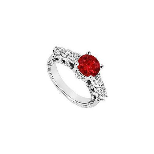 Ruby and Diamond Engagement Ring : 14K White Gold - 1.00 CT TGW