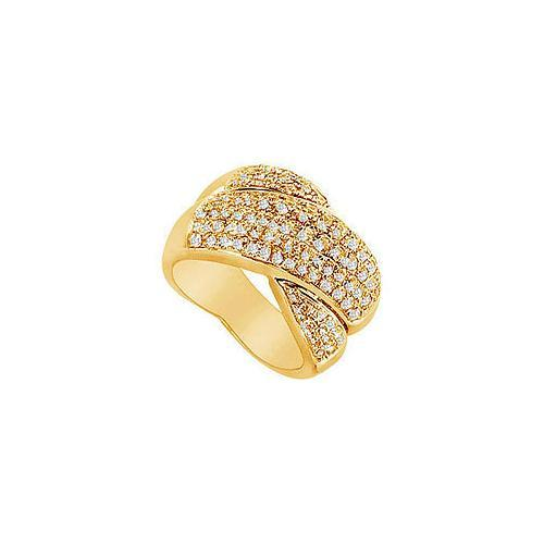 Diamond Crossover Ring : 14K Yellow Gold - 2.00 CT Diamonds