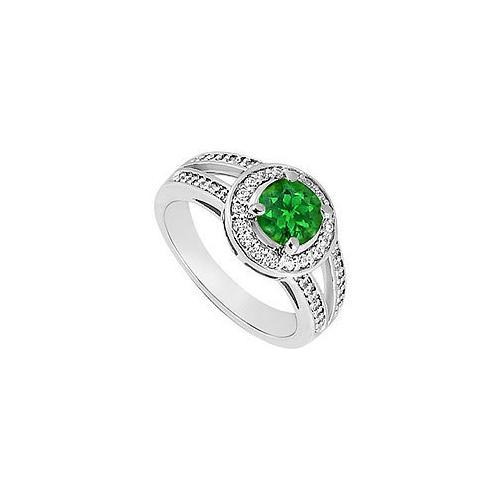Emerald and Diamond Engagement Ring : 14K White Gold 1.00 CT TGW