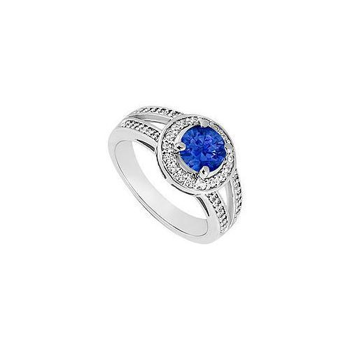 Sapphire and Diamond Engagement Ring : 14K White Gold 1.50 CT TGW