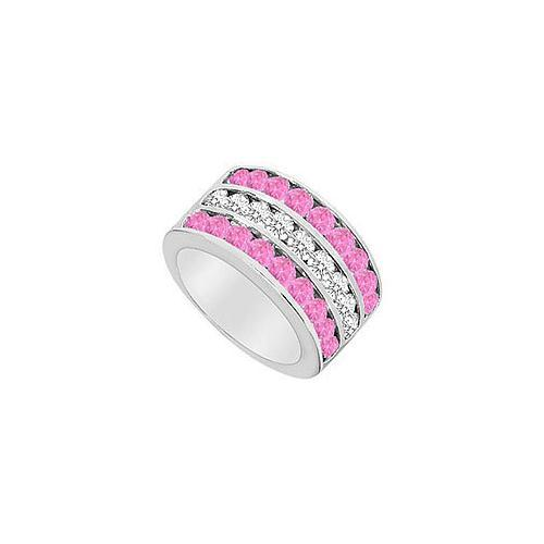 Pink Sapphire and Diamond Row Ring : 14K White Gold - 2.50 CT TGW