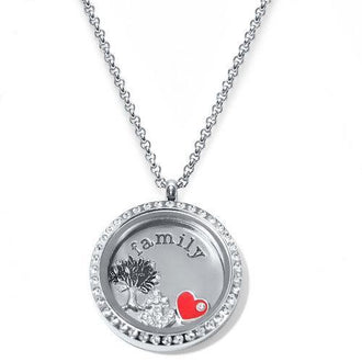 Family Floating Locket ringed with stones